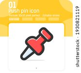 push pin icon with outline...
