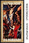 Small photo of BURUNDI - CIRCA 1972: a stamp printed in Burundi shows Crucifixion, painting by Rubens, Flemish painter, circa 1972