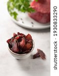 bowl with jerky meat on gray...   Shutterstock . vector #1930833290