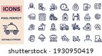 food delivery icons vector... | Shutterstock .eps vector #1930950419