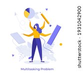 woman with four hands holding... | Shutterstock .eps vector #1931042900