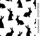 seamless pattern easter bunny... | Shutterstock .eps vector #1931075033