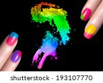 Fingers with colorful fluor nails with drops of water and crushed eye shadow. Manicure and makeup concept. Closeup image isolated on black - stock photo