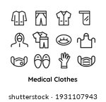 medical clothes icons set for...