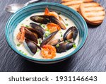 Cream Soup With Mussels . Sea...
