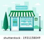 pharmacy store front on city... | Shutterstock .eps vector #1931158049