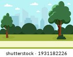 summer park with trees and...   Shutterstock .eps vector #1931182226