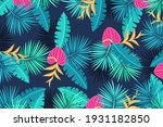 tropical background with jungle ... | Shutterstock .eps vector #1931182850