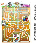 Animals maze for kids. Find a burrow for animals.