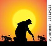 vector silhouette of a gardener ... | Shutterstock .eps vector #193124288