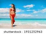 Beach Bikini Model In Red...
