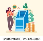 atm transaction line concept....   Shutterstock .eps vector #1931263880