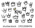set of crown icon in brush... | Shutterstock .eps vector #1931308496