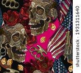 embroidery skulls  roses... | Shutterstock .eps vector #1931311640