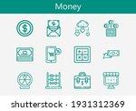 premium set of money line icons....