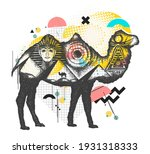 camel tattoo art. ancient egypt ... | Shutterstock .eps vector #1931318333