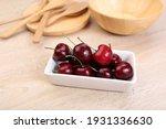 fresh cherry in white dish on...   Shutterstock . vector #1931336630