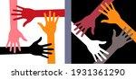 four hands icon set. volunteer... | Shutterstock . vector #1931361290