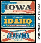 usa states rusty metal plates.... | Shutterstock .eps vector #1931417066