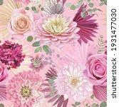 watercolor dahlia  rose flower  ... | Shutterstock .eps vector #1931477030