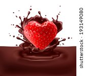 Appetizing strawberry heart dipping into chocolate with splashes - stock vector