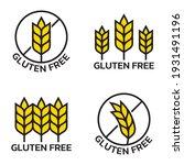 gluten free icon set with grain ...   Shutterstock .eps vector #1931491196