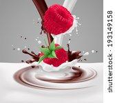 Appetizing raspberries in milk and chocolate splashes - stock vector