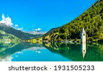 Submerged Bell Tower of Curon at Graun im Vinschgau on Lake Reschen in South Tyrol, Italy