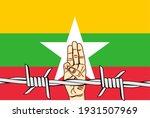 myanmar flag with 3 fingers... | Shutterstock .eps vector #1931507969
