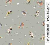 cute seamless pattern with birds   Shutterstock .eps vector #1931531540