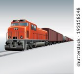 cargo train on a rail road.... | Shutterstock .eps vector #193158248