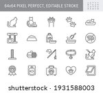 cat stuff line icons. vector... | Shutterstock .eps vector #1931588003