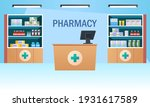 pharmacy interior with counter... | Shutterstock .eps vector #1931617589