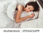 Woman sleeping. high angle view ...