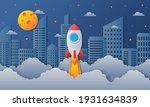 space night sky in city. moon ... | Shutterstock .eps vector #1931634839