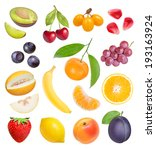 berries and fruits on white... | Shutterstock . vector #193163924