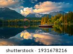 Small photo of Morning view on High Tatras mountains - National park and Strbske pleso (Strbske lake) mountains in Slovakia