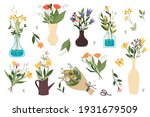 set of bouquets of wildflowers...   Shutterstock .eps vector #1931679509