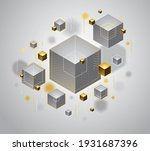 cubes cluster with golden... | Shutterstock .eps vector #1931687396