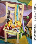 oil painting chair vegetables...