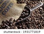 Roasted Coffee Beans Falling...