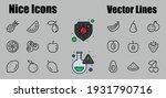 fruit icon set  vector lines ... | Shutterstock .eps vector #1931790716