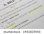 Small photo of Portland, OR, USA - Mar 8, 2021: Closeup of the document of the American Rescue Plan Act (ARPA) of 2021, a $1.9 trillion economic stimulus package proposed by President Biden to speed up the recovery.