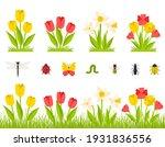 garden spring flowers. a bush... | Shutterstock .eps vector #1931836556