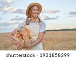 Female Farmer Standing Wheat...