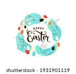 happy easter greeting vector... | Shutterstock .eps vector #1931901119