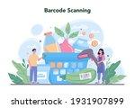cashier concept. worker behind... | Shutterstock .eps vector #1931907899