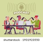 podcast recording of audio... | Shutterstock .eps vector #1931923550