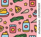 cartoon food doodle seamless...   Shutterstock .eps vector #1931990309