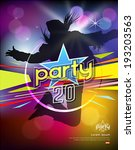girl jumping colorful party... | Shutterstock .eps vector #193203563